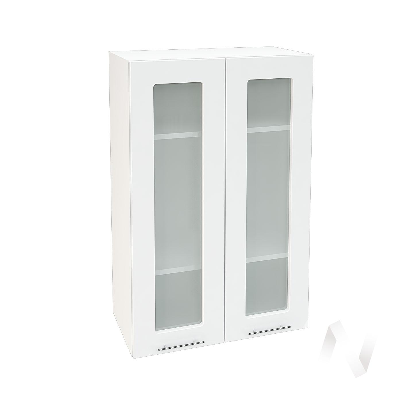 """Кухня """"Валерия-М"""": Шкаф верхний со стеклом 609, ШВС 609 (белый глянец/корпус белый)"""