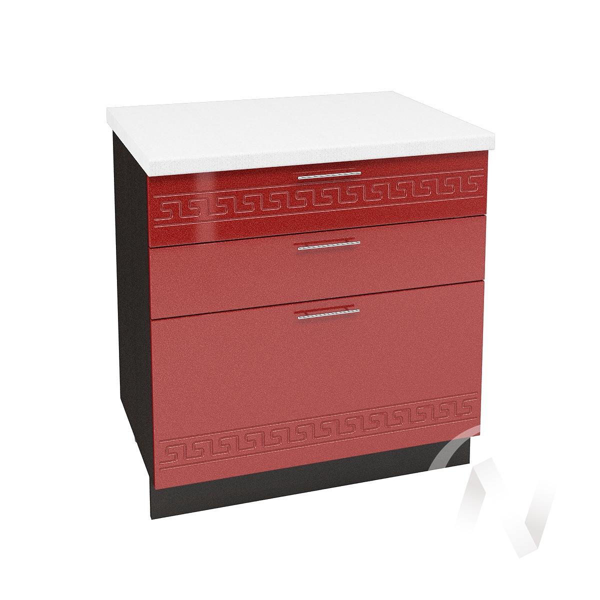 """Кухня """"Греция"""": Шкаф нижний с 3-мя ящиками 800, ШН3Я 800 (гранатовый металлик/корпус венге)"""