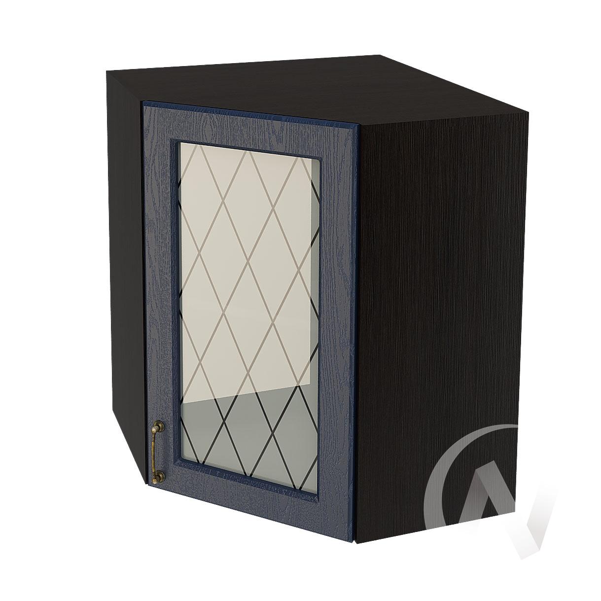 """Кухня """"Ницца"""": Шкаф верхний угловой со стеклом 590, ШВУС 590 (Дуб чернильный/корпус венге)"""