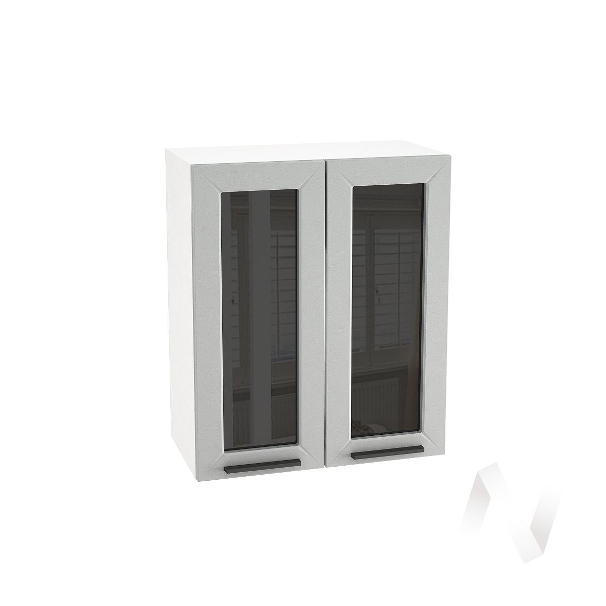 """Кухня """"Глетчер"""": Шкаф верхний со стеклом 600, ШВС 600 (Гейнсборо Силк/корпус белый)"""