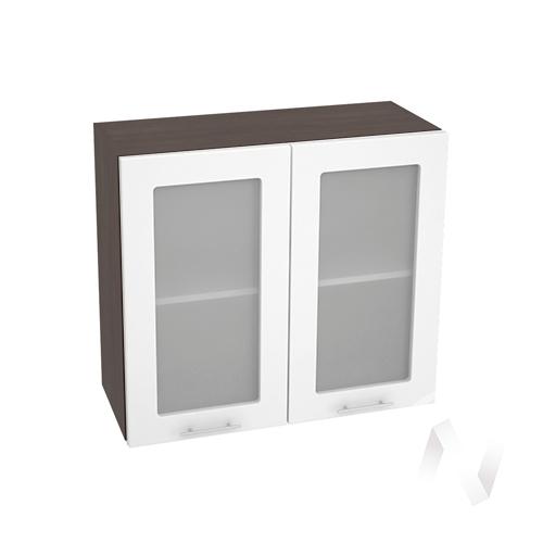 """Кухня """"Валерия-М"""": Шкаф верхний со стеклом 800, ШВС 800 (белый глянец/корпус венге)"""