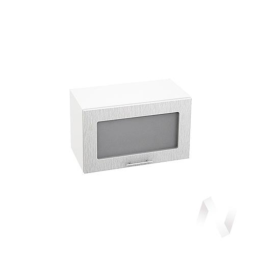 """Кухня """"Валерия-М"""": Шкаф верхний горизонтальный со стеклом 600, ШВГС 600 (дождь серый/корпус белый)"""