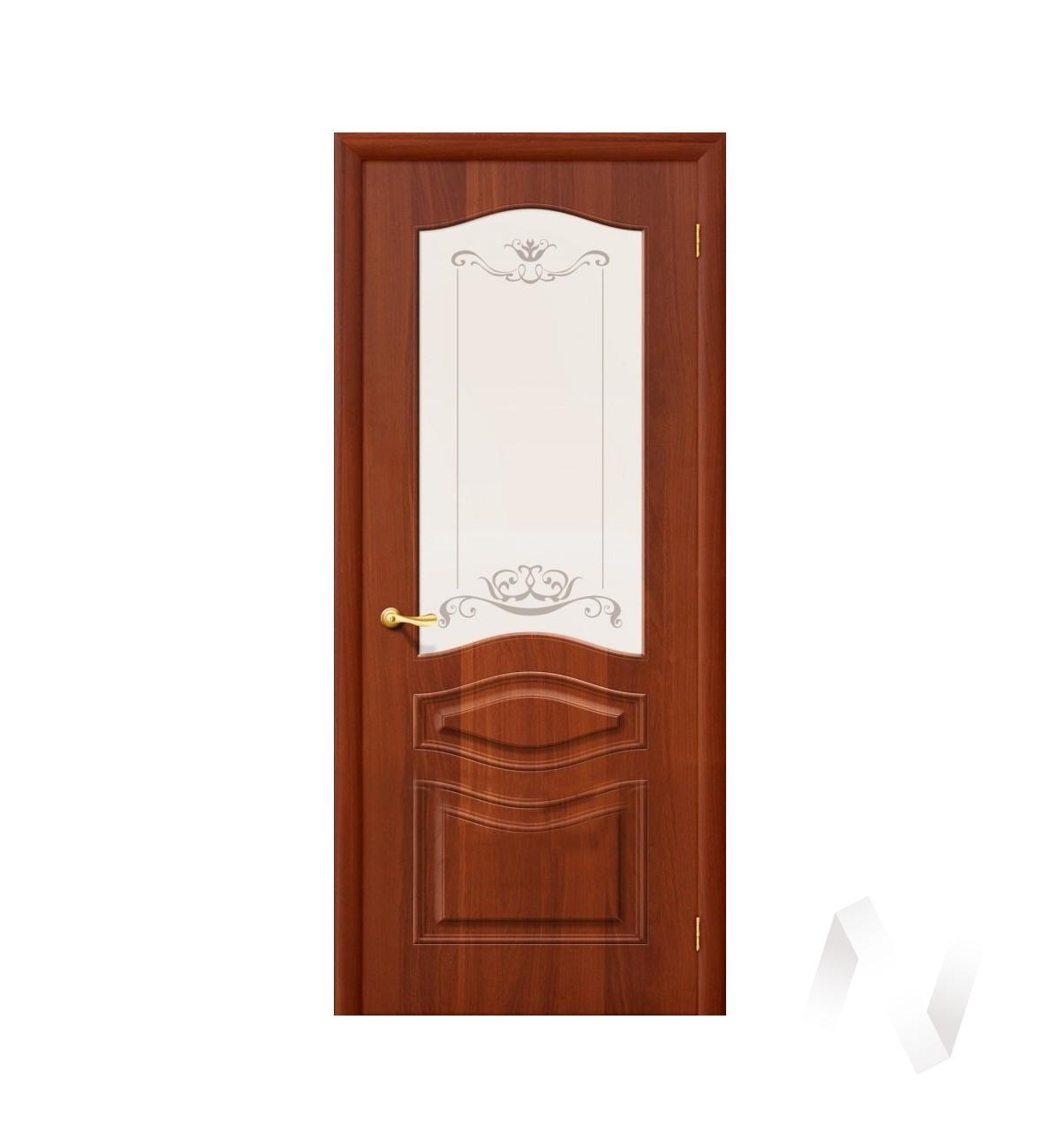 Дверь ПВХ (Тип Леона, 60, ост, итальянский орех, стекло матовое с худ. печатью)  в Томске — интернет магазин МИРА-мебель