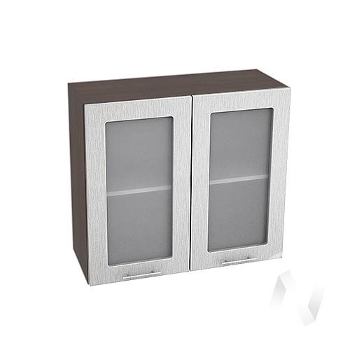 """Кухня """"Валерия-М"""": Шкаф верхний со стеклом 800, ШВС 800 (дождь серый/корпус венге)"""