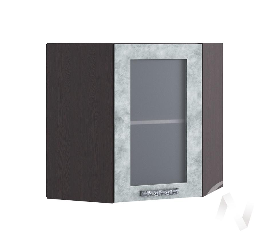 """Кухня """"Лофт"""": Шкаф верхний угловой со стеклом 590, ШВУС 590 (Бетон серый/корпус венге)"""