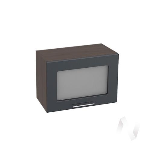 """Кухня """"Валерия-М"""": Шкаф верхний горизонтальный со стеклом 500, ШВГС 500 (Антрацит глян/корпус венге)"""