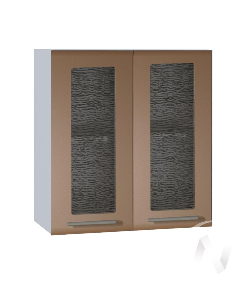 """Кухня """"Люкс"""": Шкаф верхний со стеклом 600, ШВС 600 (Шоколад матовый/корпус белый)"""