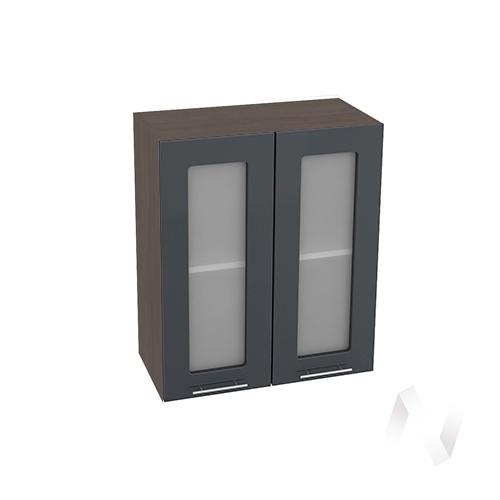 """Кухня """"Валерия-М"""": Шкаф верхний со стеклом 600, ШВС 600 (Антрацит глянец/корпус венге)"""