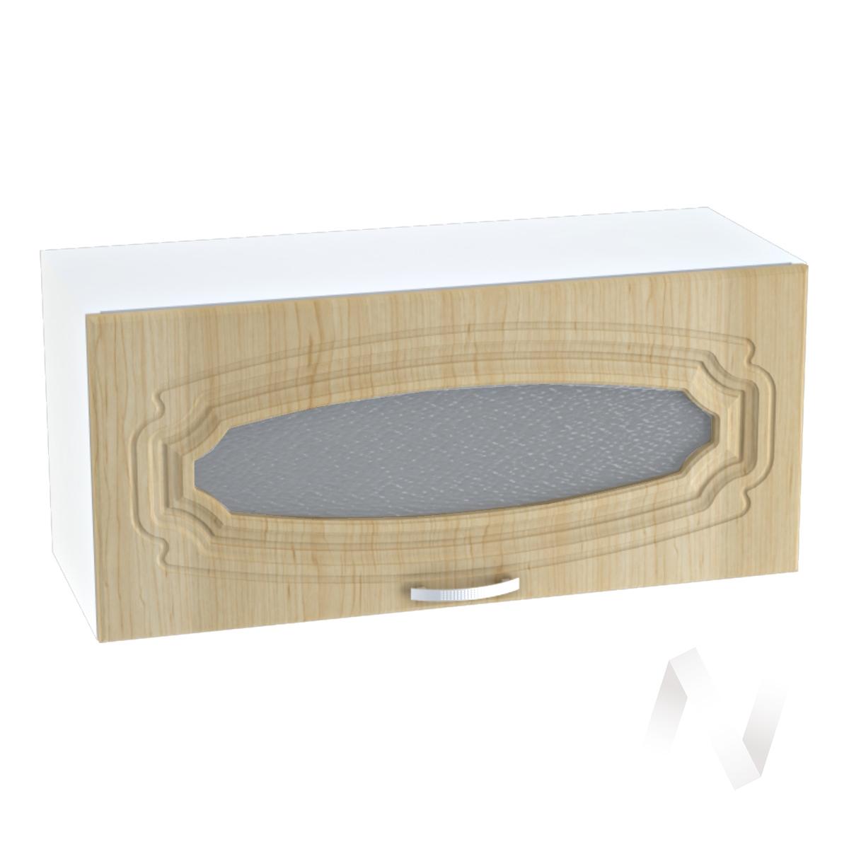 """Кухня """"Настя"""": Шкаф верхний горизонтальный со стеклом 809, ШВГС 809 (Береза/корпус белый)"""