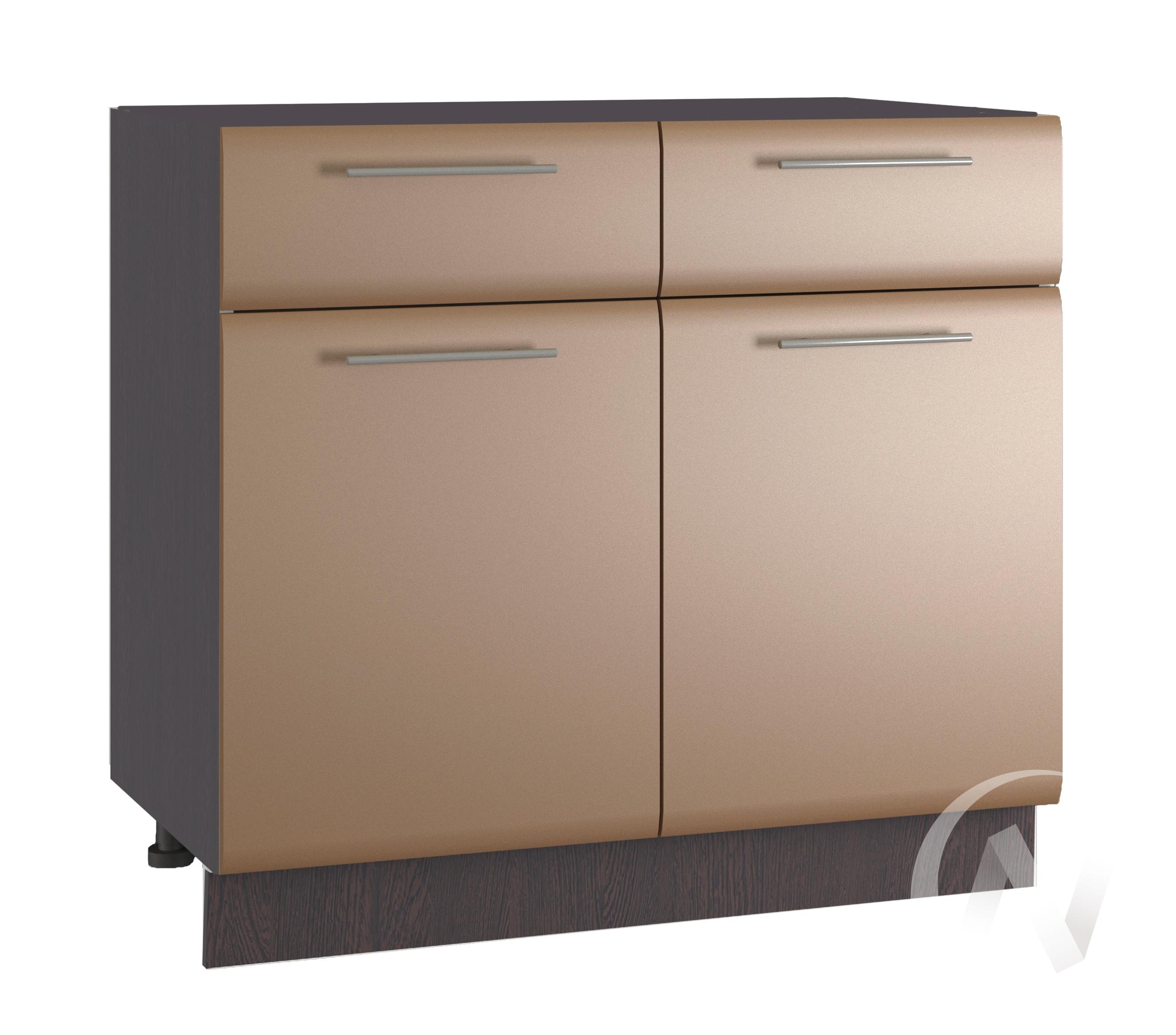 """Кухня """"Люкс"""": Шкаф нижний с ящиками 800, ШН1Я 800 (Шоколад матовый/корпус венге)"""