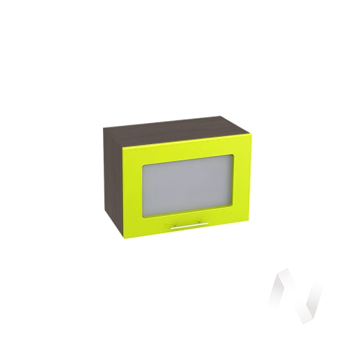 """Кухня """"Валерия-М"""": Шкаф верхний горизонтальный со стеклом 500, ШВГС 500 (лайм глянец/корпус венге)"""