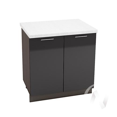 """Кухня """"Валерия-М"""": Шкаф нижний 800, ШН 800 (черный металлик/корпус венге)"""