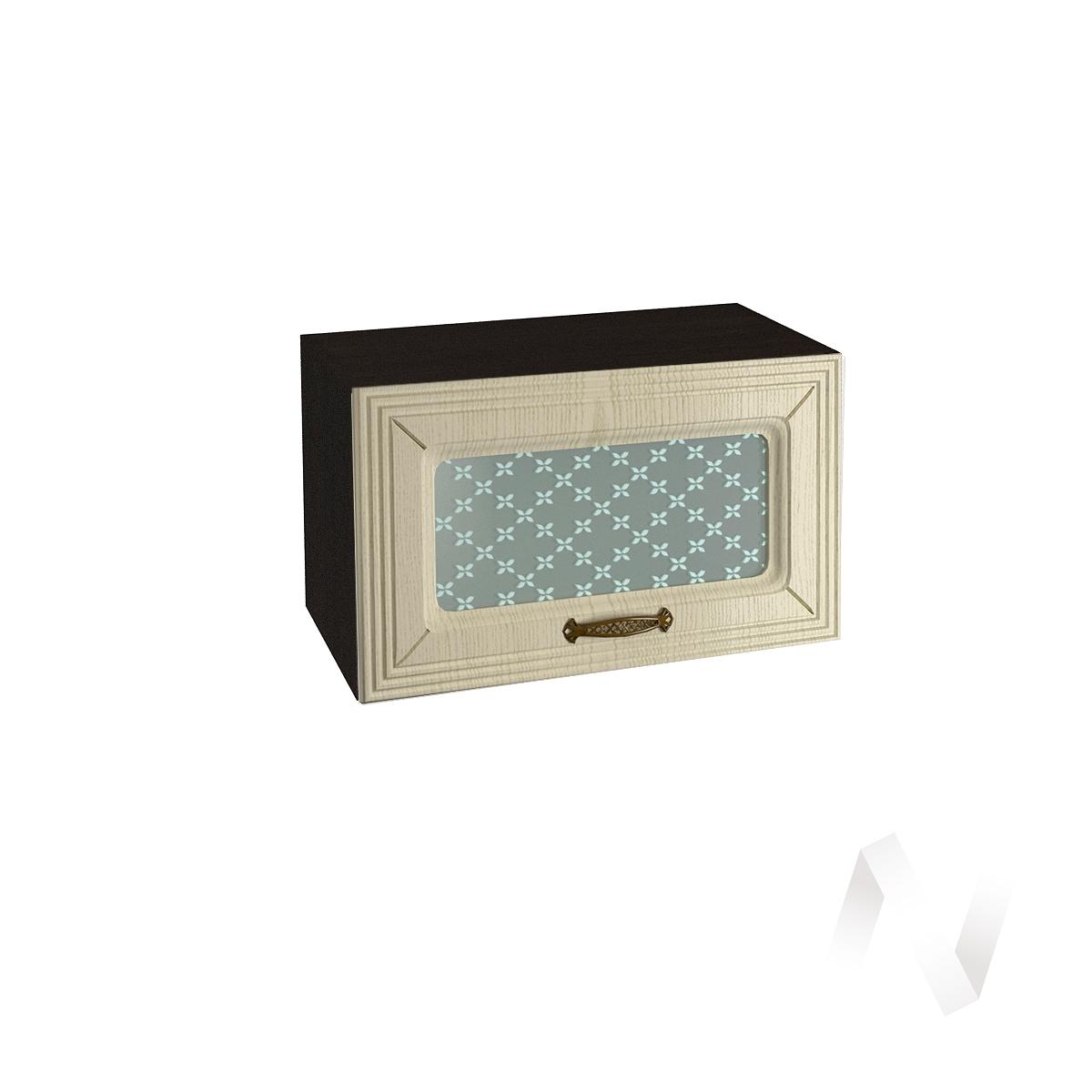 """Кухня """"Изабель"""": Шкаф верхний горизонтальный со стеклом 600, ШВГС 600 (корпус венге)"""