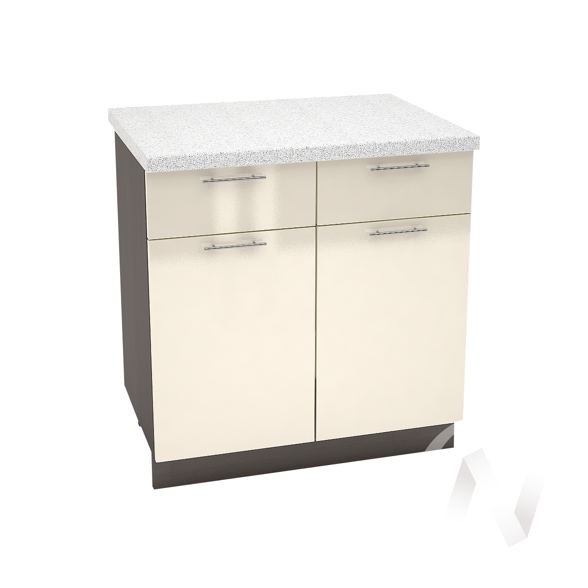 """Кухня """"Валерия-М"""": Шкаф нижний с ящиками 800, ШН1Я 800 (Ваниль глянец/корпус венге)"""