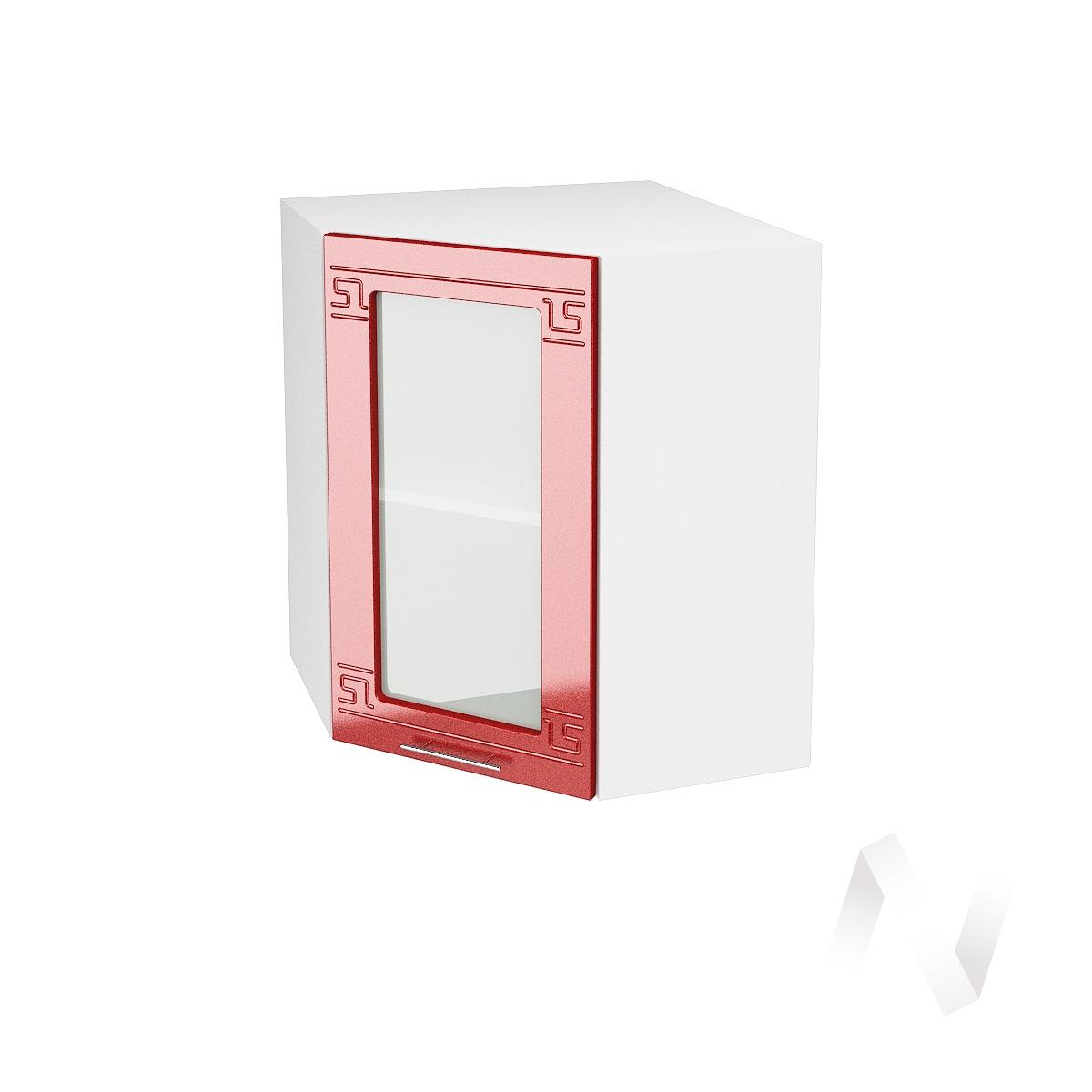 """Кухня """"Греция"""": Шкаф верхний угловой со стеклом 590, ШВУС 590 (гранат. металлик/корпус белый)"""