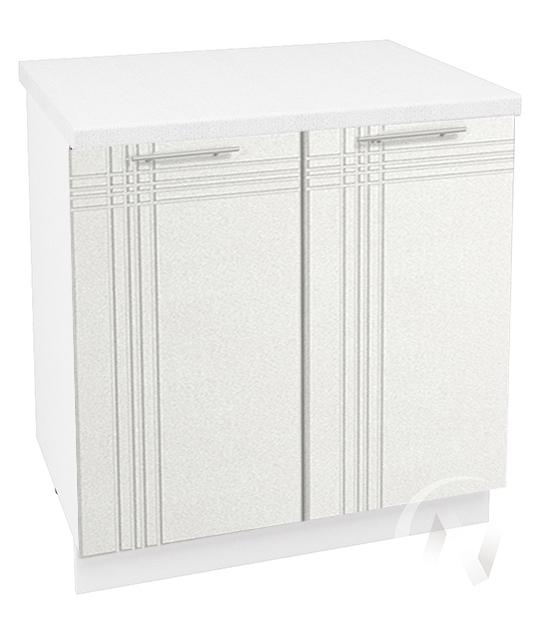 """Кухня """"Струна"""": Шкаф нижний 800, ШН 800 (белый металлик/корпус белый)"""