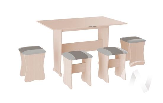 Обеденная группа тип 3 кожзам (дуб молочный/серый,белый)  в Томске — интернет магазин МИРА-мебель