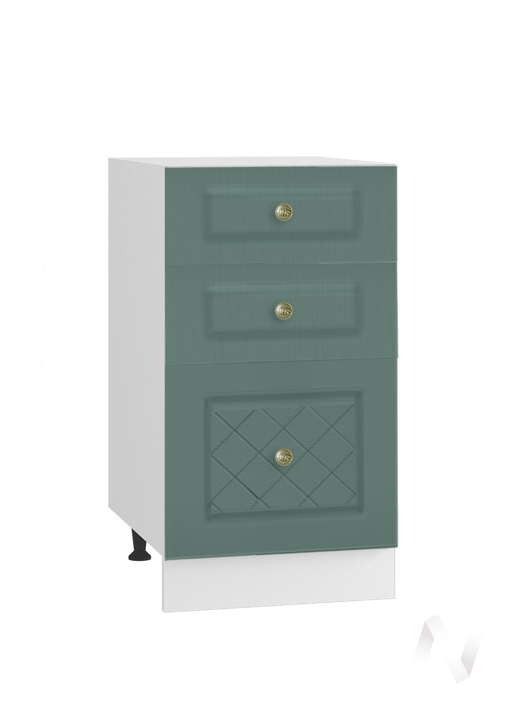 """Кухня """"Селена"""": Шкаф нижний с 3-мя ящиками 400, ШН3Я 400 (Дуб бирюзовый/корпус белый)"""
