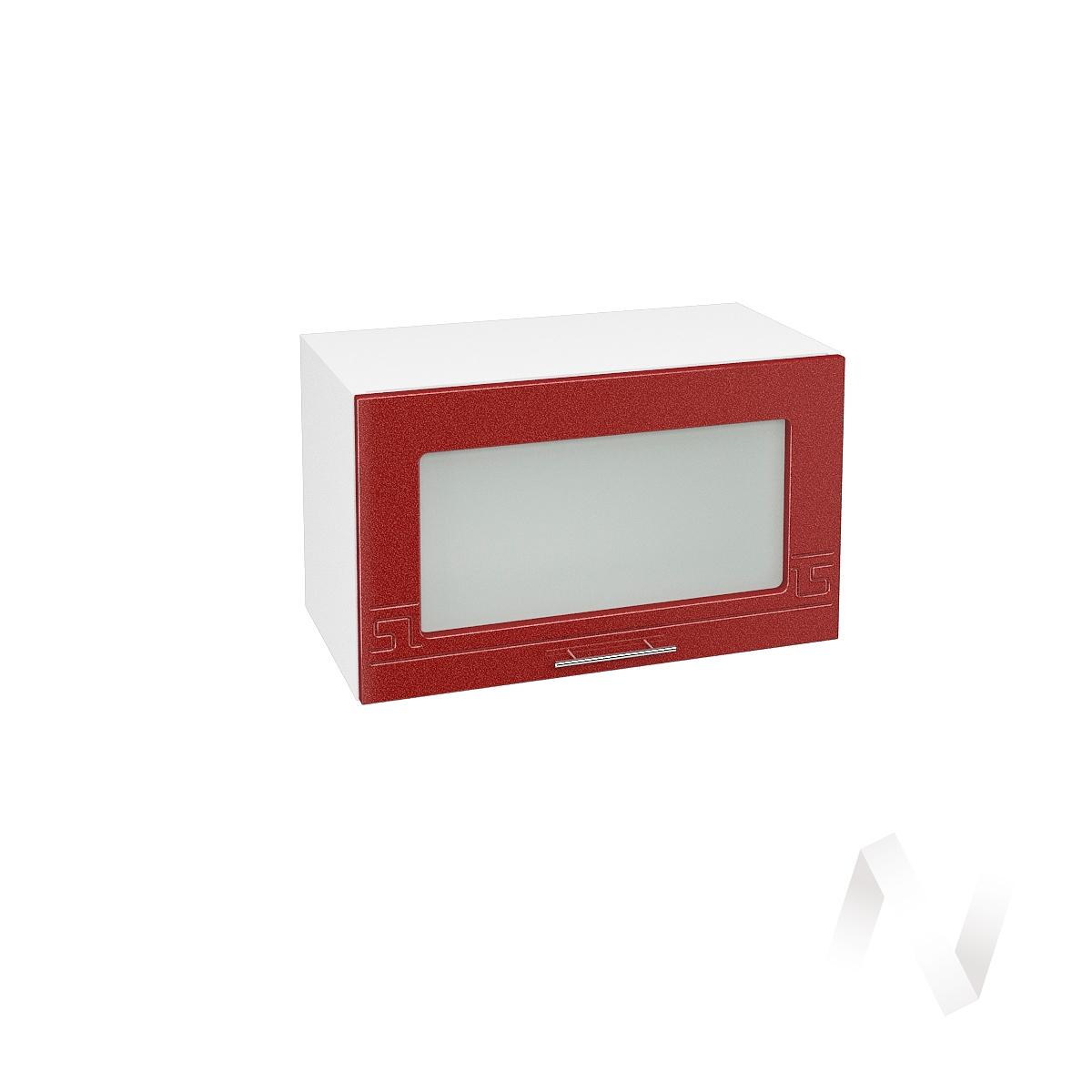 """Кухня """"Греция"""": Шкаф верхний горизонтальный со стеклом 600, ШВГС 600 (гранат. металлик/корпус белый)"""