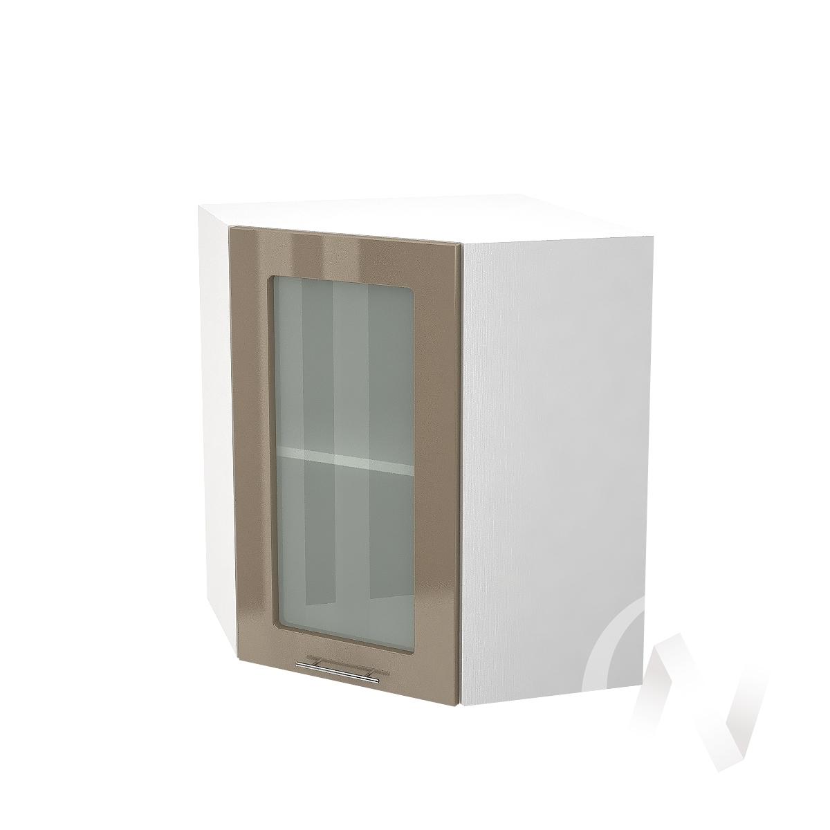 """Кухня """"Валерия-М"""": Шкаф верхний угловой со стеклом 590, ШВУС 590 (Капучино глянец/корпус белый)"""