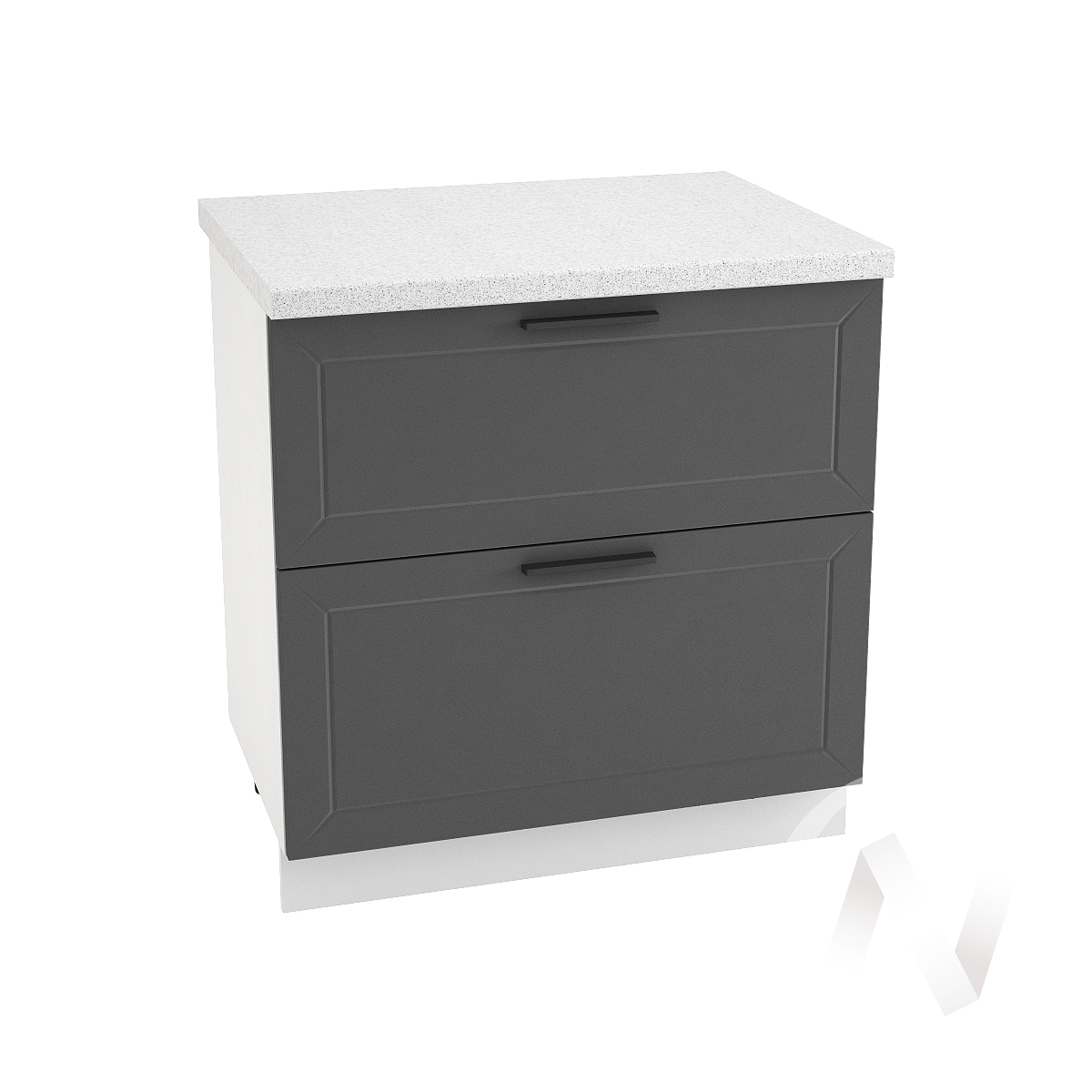 "Кухня ""Глетчер"": Шкаф нижний с 2-мя ящиками 800, ШН2Я 800 (Маренго силк/корпус белый)"
