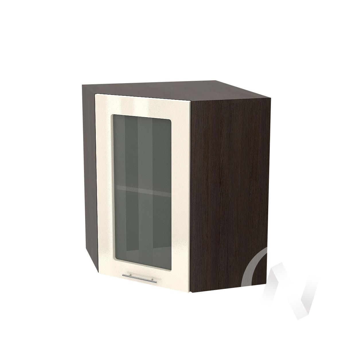 """Кухня """"Валерия-М"""": Шкаф верхний угловой со стеклом 590, ШВУС 590 (Ваниль глянец/корпус венге) УТ-0"""