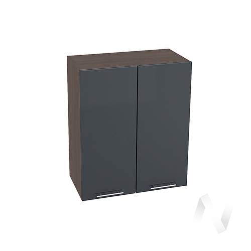 """Кухня """"Валерия-М"""": Шкаф верхний 600, ШВ 600 (Антрацит глянец/корпус венге)"""