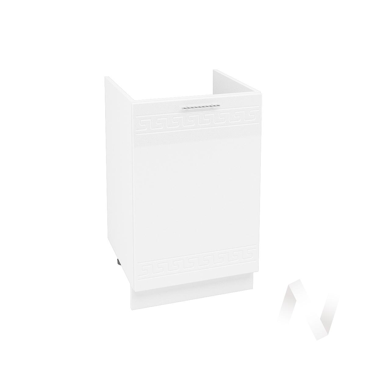 """Кухня """"Греция"""": Шкаф нижний под мойку 500, ШНМ 500 (белый металлик/корпус белый)"""
