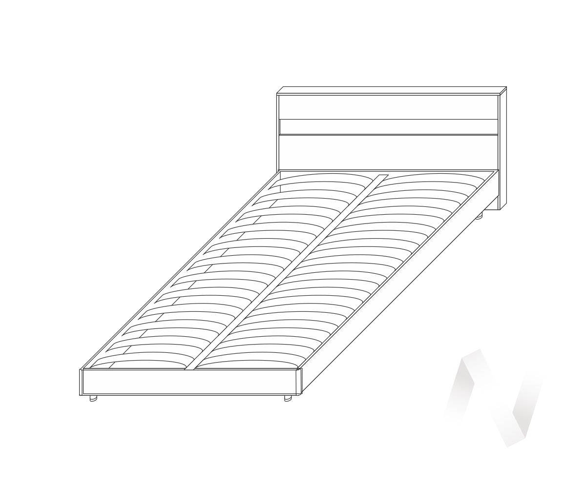 Кровать Флоренция 1600 б/матр. (венге/дуб белфорд)  в Новосибирске - интернет магазин Мебельный Проспект