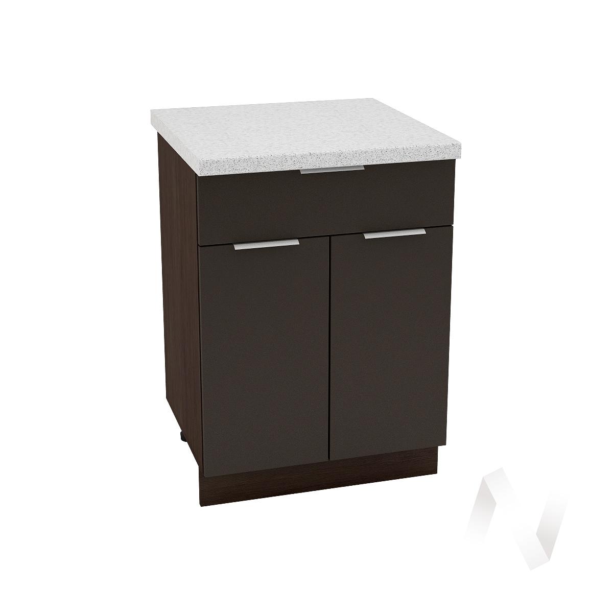 """Кухня """"Терра"""": Шкаф нижний с ящиком 600, ШН1Я 600 М (смоки софт/корпус венге)"""