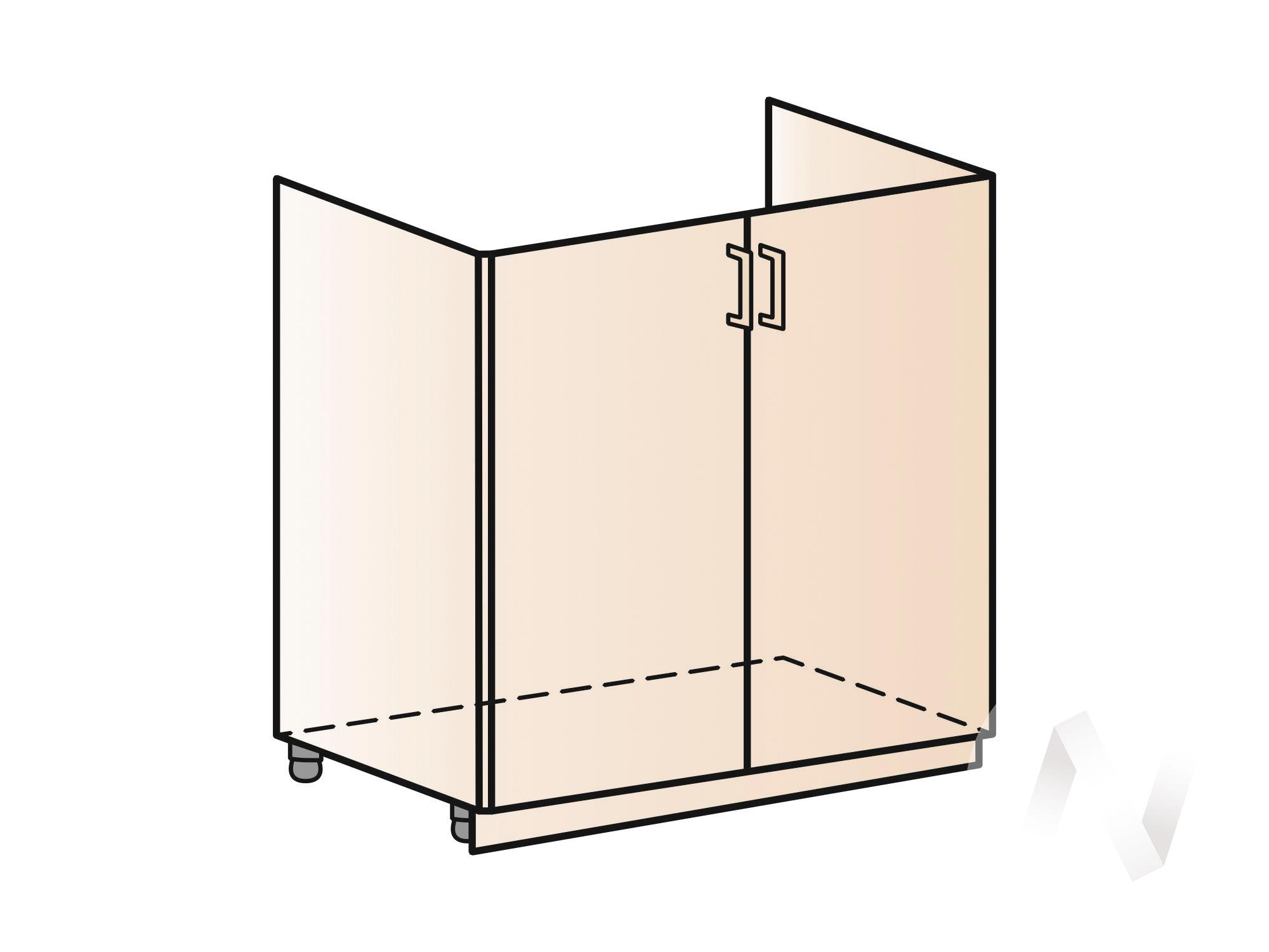 """Кухня """"Люкс"""": Шкаф нижний под мойку 800, ШНМ 800 (Шелк жемчуг/корпус венге) в Томске — авторская мебель Экостиль"""