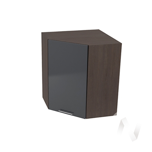 """Кухня """"Валерия-М"""": Шкаф верхний угловой 590, ШВУ 590 (Антрацит глянец/корпус венге)"""