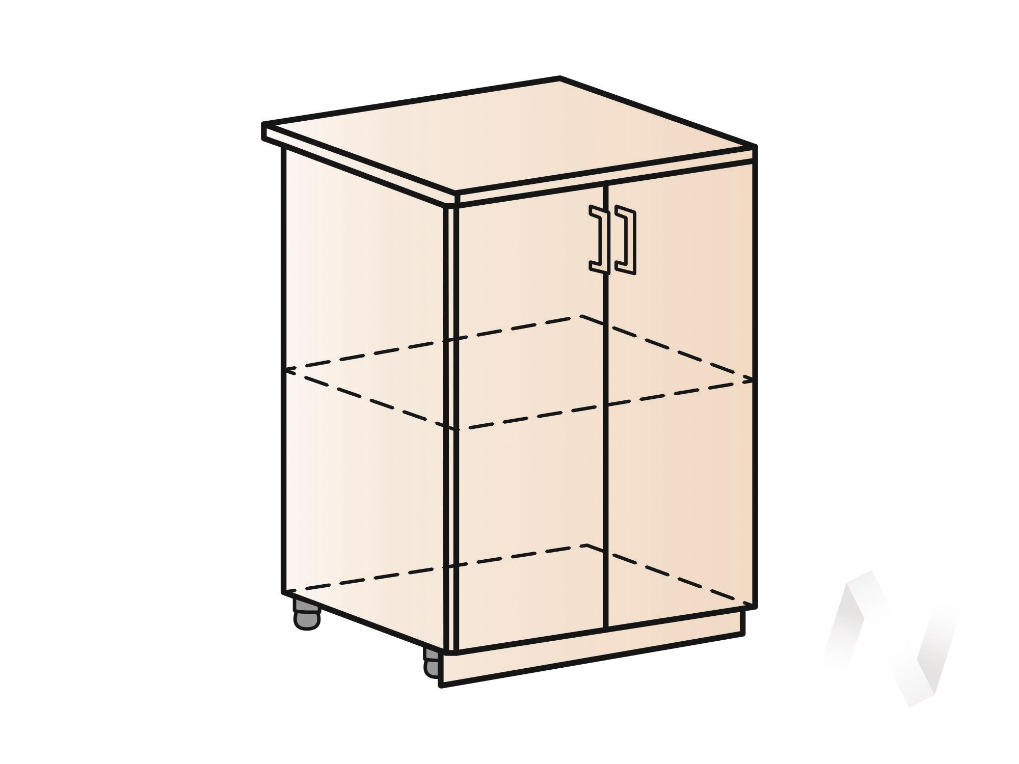 """Кухня """"Люкс"""": Шкаф нижний 600, ШН 600 (Шелк жемчуг/корпус белый) в Томске — авторская мебель Экостиль"""
