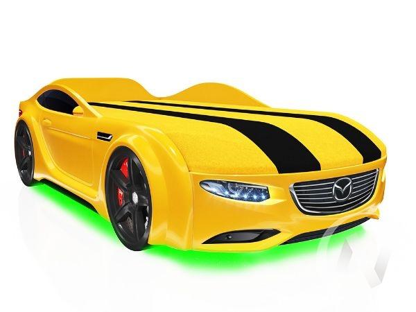 Кровать машинка Real-M с ящиком и фирменными полосками (желтая мазда)