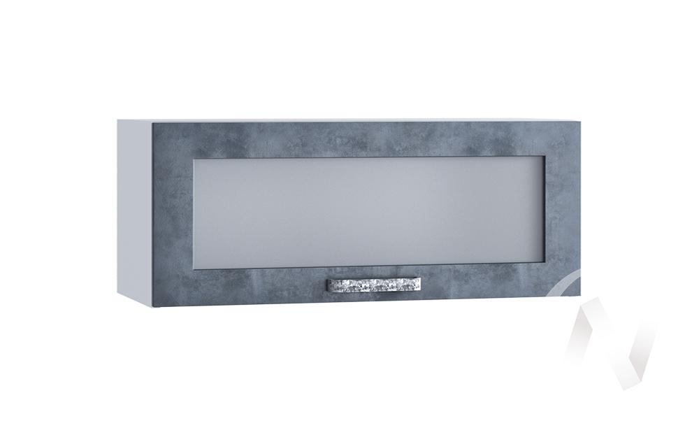 """Кухня """"Лофт"""": Шкаф верхний горизонтальный со стеклом 800, ШВГС 800 (Бетон графит/корпус белый)"""