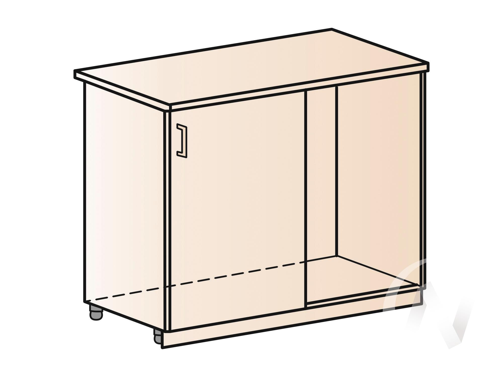 """Кухня """"Струна"""": Шкаф нижний левый угловой 990М, ШНУ 990М (фиолетовый металлик/корпус белый) в Томске — авторская мебель Экостиль"""
