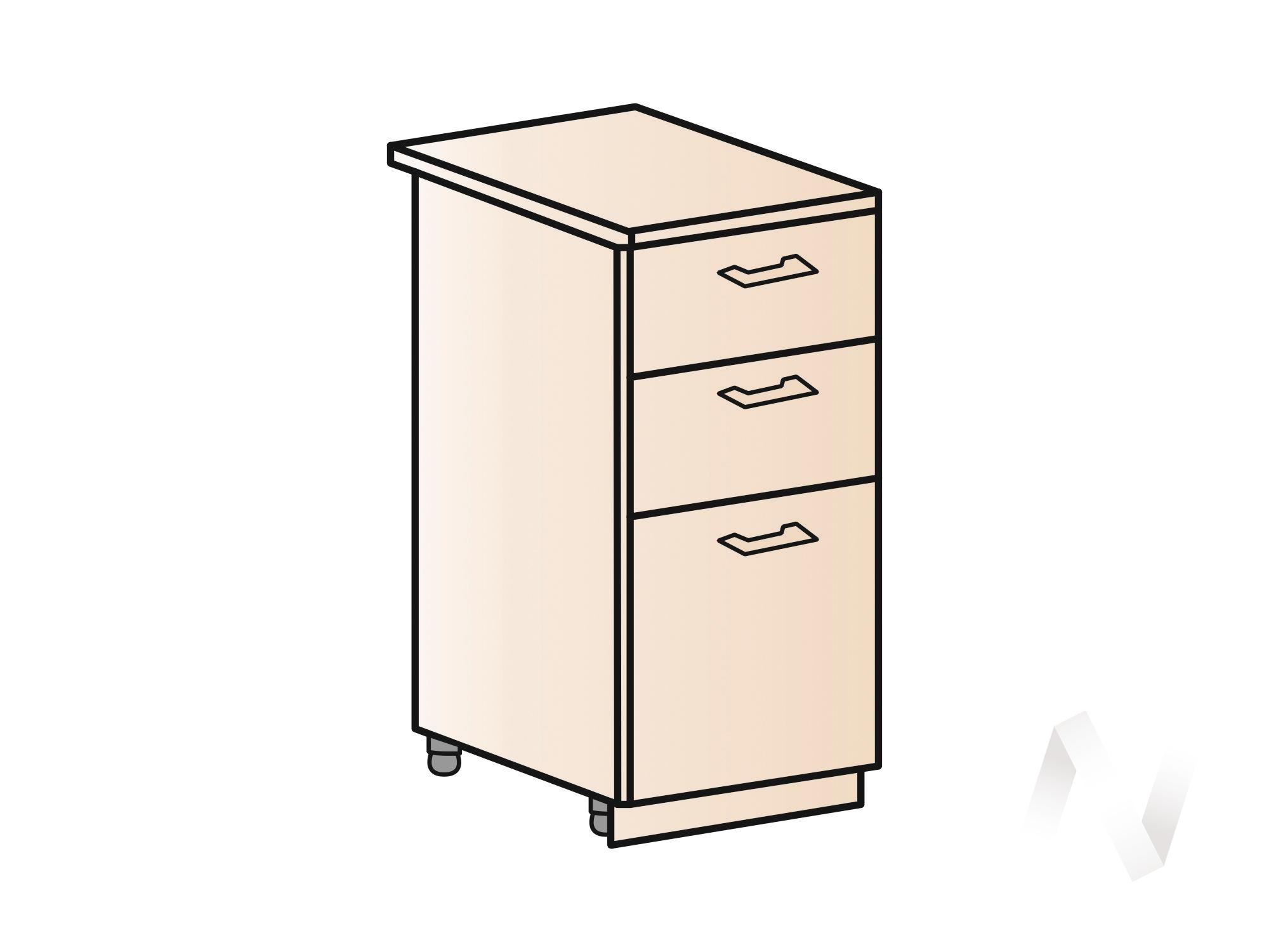 """Кухня """"Вена"""": Шкаф нижний с 3-мя ящиками 400, ШН3Я 400 (корпус белый) в Новосибирске в интернет-магазине мебели kuhnya54.ru"""