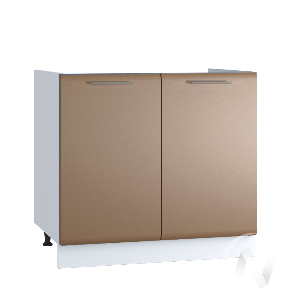 "Кухня ""Люкс"": Шкаф нижний под мойку 800, ШНМ 800 (Шоколад матовый/корпус белый)"