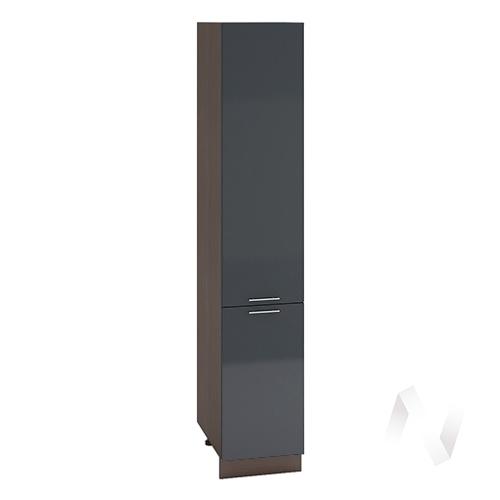 """Кухня """"Валерия-М"""": Шкаф пенал 400, ШП 400 (Антрацит глянец/корпус венге)"""