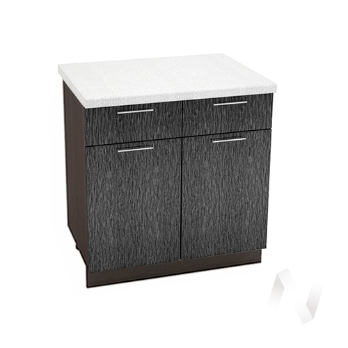 """Кухня """"Валерия-М"""": Шкаф нижний с ящиками 800, ШН1Я 800 (дождь черный/корпус венге)"""