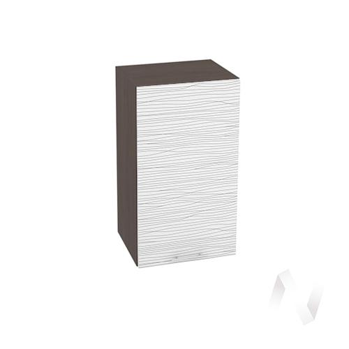 """Кухня """"Валерия-М"""": Шкаф верхний 400, ШВ 400 (Страйп белый/корпус венге)"""