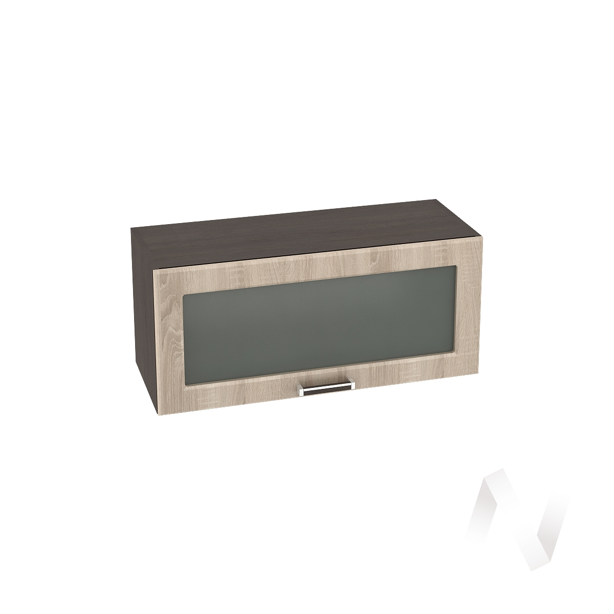 """Кухня """"Прага"""": Шкаф верхний горизонтальный со стеклом 800, ШВГС 800 (дуб сонома/корпус венге)"""