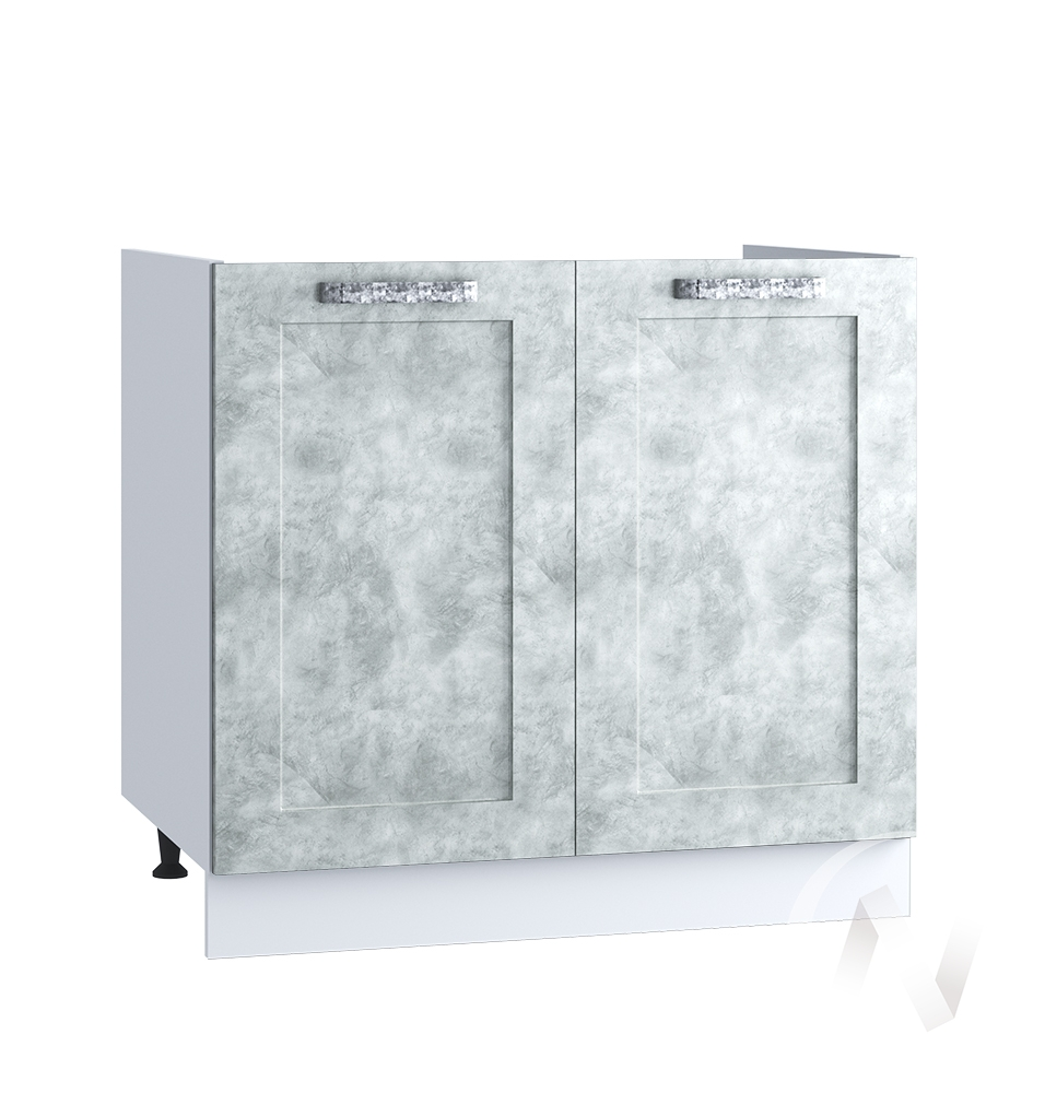 "Кухня ""Лофт"": Шкаф нижний под мойку 800, ШНМ 800 (Бетон серый/корпус белый)"