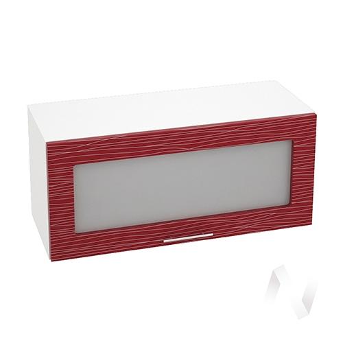"""Кухня """"Валерия-М"""": Шкаф верхний горизонтальный со стеклом 800, ШВГС 800 (Страйп красн./корпус белый)"""