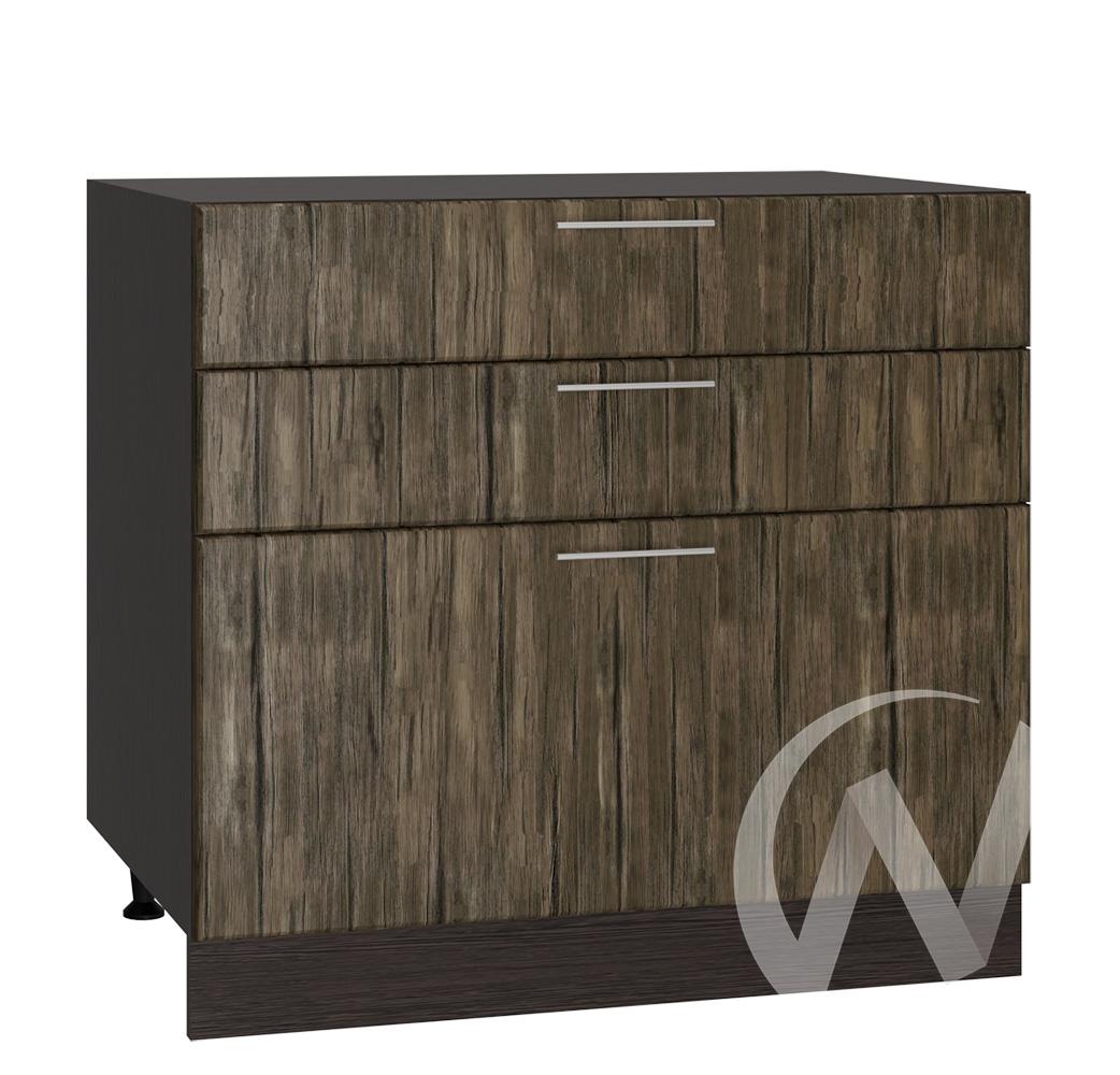 """Кухня """"Норден"""": Шкаф нижний с 3-мя ящиками 800, ШН3Я 800 (старое дерево/корпус венге)"""