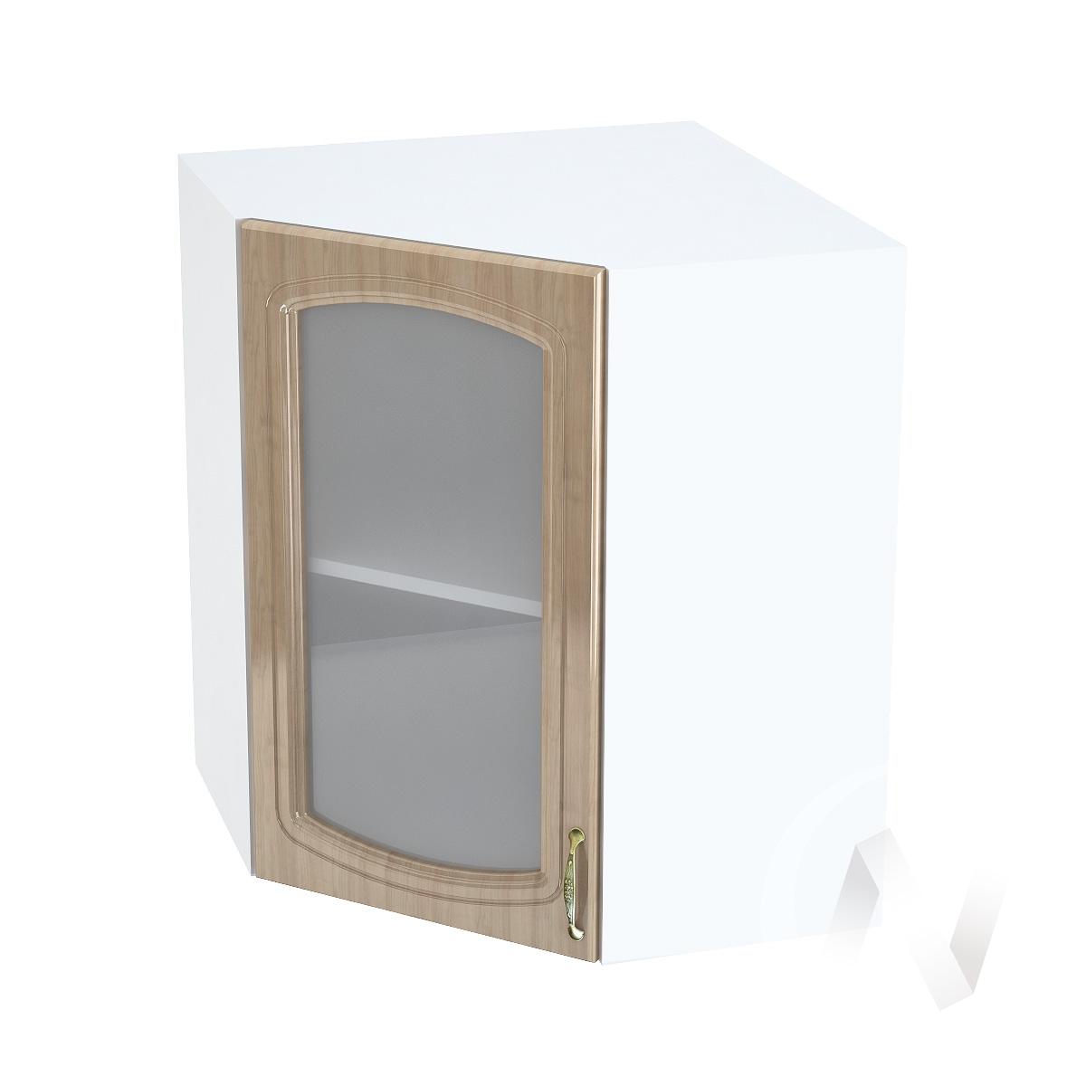 """Кухня """"Сити"""": Шкаф верхний угловой со стеклом 590, ШВУС 590 (корпус белый)"""