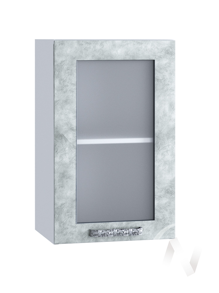 "Кухня ""Лофт"": Шкаф верхний со стеклом 400, ШВС 400 (Бетон серый/корпус белый)"