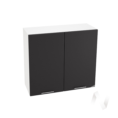 """Кухня """"Валерия-М"""": Шкаф верхний 800, ШВ 800 (черный металлик/корпус белый)"""
