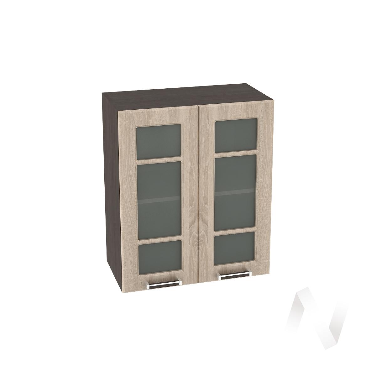 "Кухня ""Прага"": Шкаф верхний со стеклом 600, ШВС 600 (дуб сонома/корпус венге)"