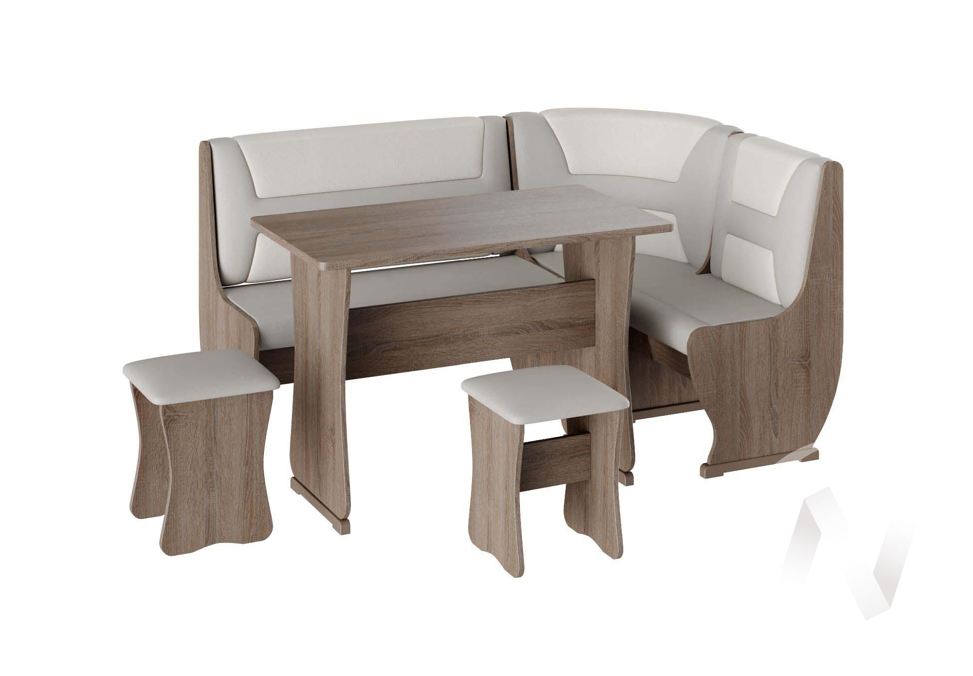 Кухонный уголок Уют 3 универсал кожзам (дуб сонома трюфель/серый,белый)  в Томске — интернет магазин МИРА-мебель
